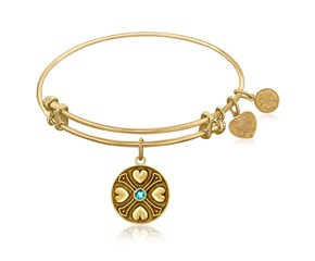 Expandable Yellow Tone Brass Bangle with Blue Topaz December Symbol