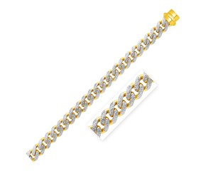 14k Two Tone Gold 8 1/2 inch Wide Curb Chain Bracelet with White Pave