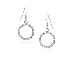 Open Circle with Texture Drop Earrings in Sterling Silver