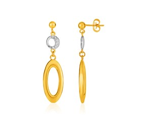 14k Yellow Gold and Diamond Oval and Crescent Moon Earrings (1/10 cttw)
