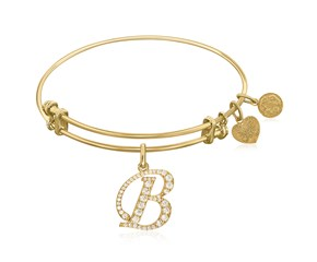 Expandable Yellow Tone Brass Bangle with B Symbol with Cubic Zirconia