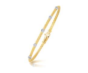 Diamond Accent Station Basket Weave Bracelet in 14k Two Tone Gold