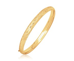 Fancy Dome Diamond Cut Style Children's Bangle in 14K Yellow Gold