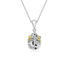 Baroque Dragonfly Accented Teardrop Pendant in 18k Yellow Gold and Sterling Silver