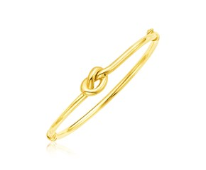 14k Yellow Gold Bangle Bracelet with Polished Knot