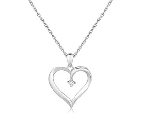 Fancy Diamond Accented Heart Pendant in Sterling Silver (.03 cttw)