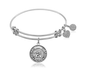 Expandable White Tone Brass Bangle with Angel Symbol
