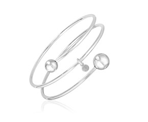 Sterling Silver 7 1/4 inch Wrap Bangle with Polished Spheres