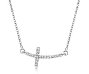 Diamond Accented Curved Cross Necklace in 14k White Gold (.11cttw)