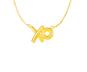 Pendant with XO Symbols in 14K Yellow Gold