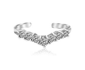 Fancy White Cubic Zirconia Accented V Shape Toe Ring in Rhodium Plated Sterling Silver