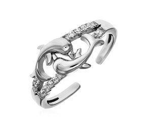 Toe Ring with Two Dolphins in Sterling Silver