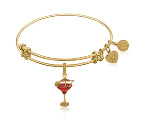 Expandable Yellow Tone Brass Bangle with Enamel Umbrella Drink Charm Symbol