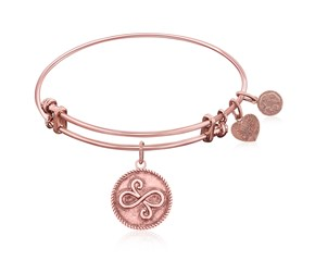 Expandable Pink Tone Brass Bangle with Best Friends Closeness Symbol