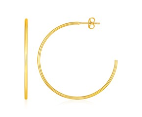 14k Yellow Gold Polished Hoop Earrings