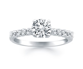 Shared Prong Diamond Band Accent Engagement Ring in 14k White Gold