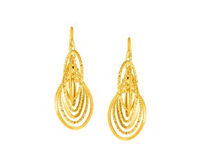 14k Yellow Gold Post Earrings with Interlocking Curved Wire Dangles
