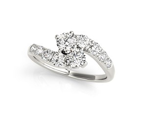 Overlap Shank Style Two Stone Diamond Ring in 14k White Gold (1 cttw)