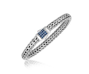 Blue Sapphire Accented Fancy Braided Men's Bracelet in Sterling Silver