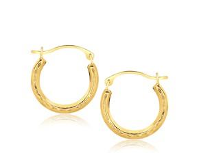 Fancy Round Hoop Earrings in 10k Yellow Gold
