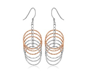 Textured Earrings with Cascading Hoops in Rose Tone Sterling Silver
