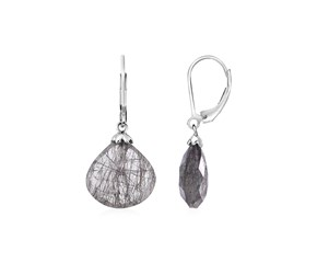 Earrings with Black Rutile Teardrops in Sterling Silver