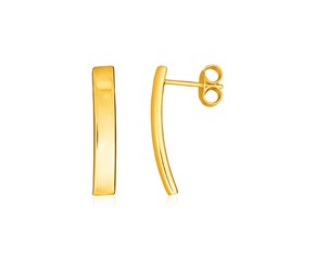 14K Yellow Gold Curved Bar Earrings