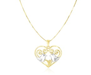 Dove Pair Filigree Heart Charm Pendant in 14k Two-Tone Gold