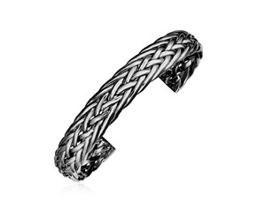 Woven Rope Cuff Bangle with Black Finish in Sterling Silver