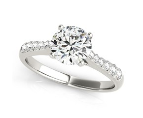 14k White Gold Round Cut Diamond Engagement Ring with Single Row Band Stones (1 5/8 cttw)