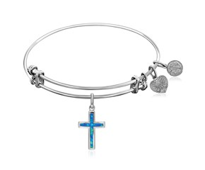 Expandable White Tone Brass Bangle with Cross Symbol with Opal