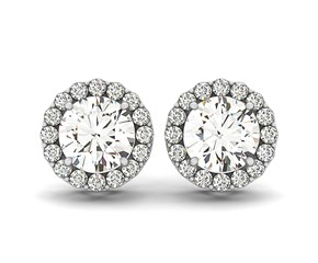 Round Halo Style Earrings with Diamonds in 14k White Gold (1 1/6 cttw)