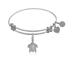 Expandable White Tone Brass Bangle with Turtle Symbol and Cubic Zirconia