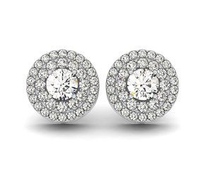 Double Halo Round Diamond Earrings in 14k White Gold (1 1/4 cttw)