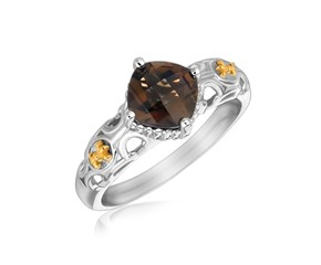 Square Smokey Quartz Fleur De Lis Accented Ring in 18k Yellow Gold and Sterling Silver