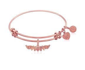 Expandable Pink Tone Brass Bangle with Finish M-Heart-M With Wing Symbol