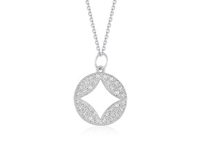 Cut-out Diamond Studded Round Pendant in 14k White Gold (1/3 cttw)