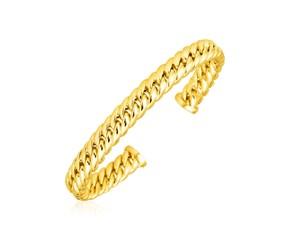 14K Yellow Gold Curb Chain Cuff Bangle