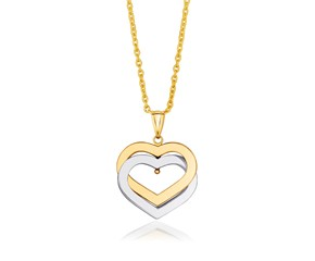 Intertwined Hearts Pendant in 14k Two-Tone Gold