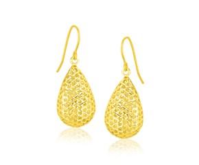 Large Honeycomb Style Teardrop Drop Earrings in 14k Yellow Gold