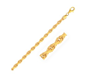 Solid Diamond Cut Rope Chain in 14k Yellow Gold (4.0mm)