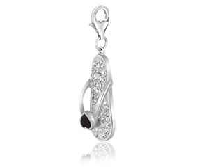 Flip Flop White Tone Crystal Encrusted Charm in Sterling Silver