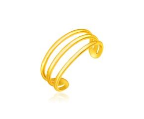 14k Yellow Gold Three Bar Toe Ring