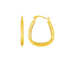 14k Yellow Gold Textured Square Hoop Earrings