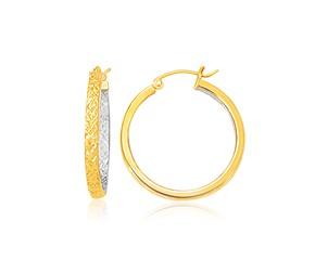 Slender Medium Patterned Hoop Earring in Two-Tone Gold