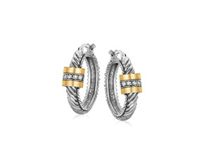 Italian Cable Diamond Accented Hoop Earrings in 18k Yellow Gold and Sterling Silver (.09 cttw)