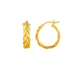 Shiny Braided Hoop Earrings in 14k Yellow Gold