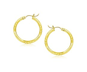 Classic Diamond Cut Hoop Earrings in 10k Yellow Gold (20mm Diameter) (3.0mm)
