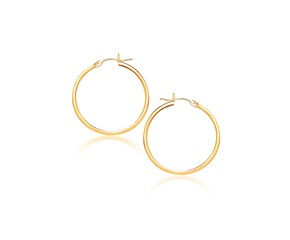 Classic Hoop Earrings in 10k Yellow Gold (40mm Diameter) (2.0mm)