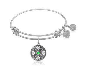 Expandable White Tone Brass Bangle with Emerald May Symbol